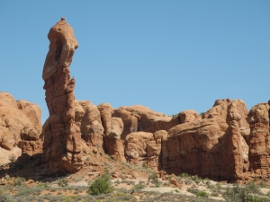 Riding through Arches National Park in Moab, UT.