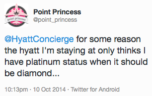 Point Princess sends a tweet to Hyatt
