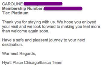 Platinum status indicated in email from Hyatt Place